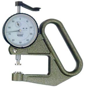Đồng hồ đo bề dày 0-10mm Vogel 240410, kiểu P, có 4 loại đầu đo khác nhau.