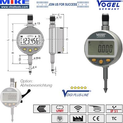 Đồng hồ so điện tử 12.5mm, chống nước IP51, Bluetooth