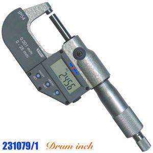 Panme điện tử 9-10 inch 231079/1, cấp bảo vệ IP54, thước phụ hệ inch, RS232.