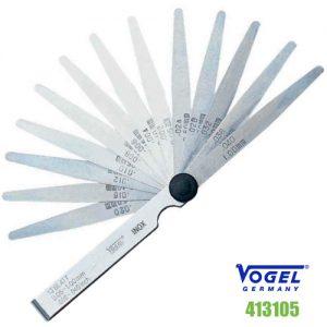 Thước căn lá INOX 413105, dưỡng đo khe hở 13 lá, khe hở từ 0,05 đến 1,0 mm.