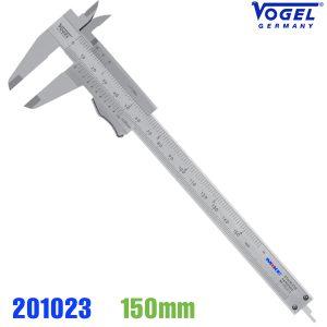 Thước kẹp cơ khí 150mm, khoá bằng ngón tay cái, độ chính xác 0.05mm, ngàm 40mm.