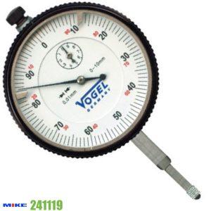Đồng hồ so cơ 0-10mm Vogel 241118, độ chính xác 0.01mm, vạch chia 1mm.