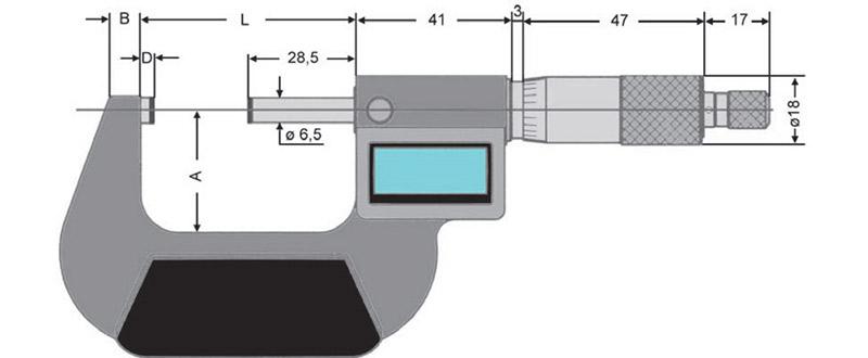 2310 bản vẽ kích thước panme điện tử đo ngoài 0-150mm Vogel