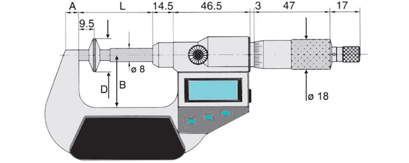 23117 bản vẽ kích thước panme điện tử đo ngoài 0-100mm Vogel