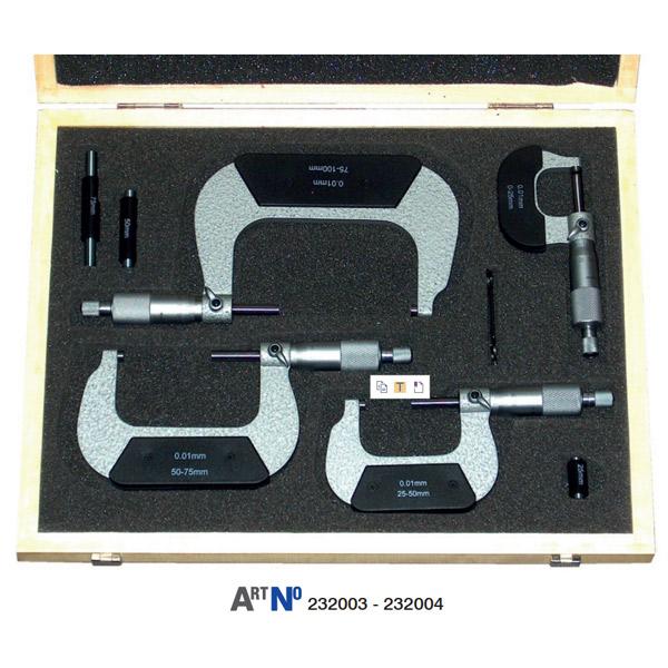 23200 Bộ panme cơ đo ngoài, độ chính xác 0.01mm