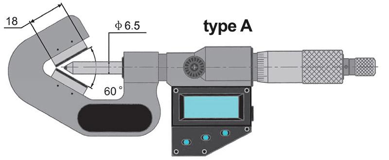 23218 bản vẽ kích thước type A panme điện tử đo ngoài ngàm chữ V Vogel