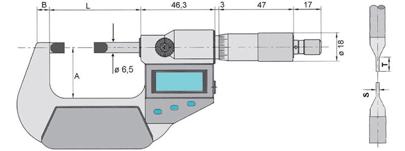 23238 bản vẽ panme điện tử đo rãnh ngoài chống bụi IP40 Vogel